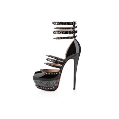 Women's Black Patent Leather Pumps with Buckle/Hollow-out/Ankle Strap/Rivet #LDB03030540