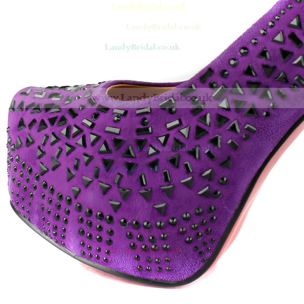 Women's Lilac Suede Pumps with Rivet