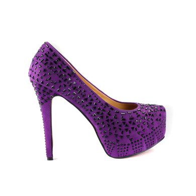 Women's Lilac Suede Pumps with Rivet #LDB03030542