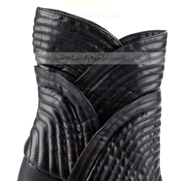 Women's Black Real Leather Closed Toe with Ruched