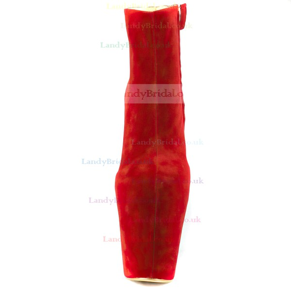 Women's Red Velvet Platform with Zipper
