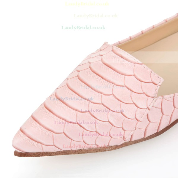 Women's Pink Real Leather Flats with Animal Print