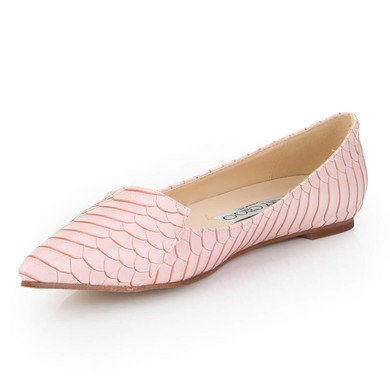 Women's Pink Real Leather Flats with Animal Print #LDB03030547