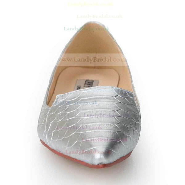 Women's Silver Real Leather Flats with Animal Print