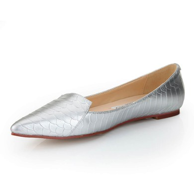 Women's Silver Real Leather Flats with Animal Print #LDB03030548