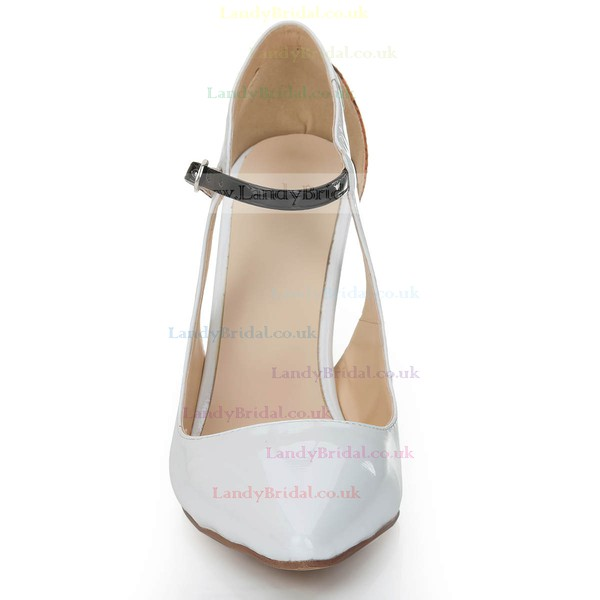 Women's White Patent Leather Pumps with Buckle/Hollow-out/Split Joint/Animal Print