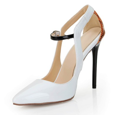 Women's White Patent Leather Pumps with Buckle/Hollow-out/Split Joint/Animal Print #LDB03030549