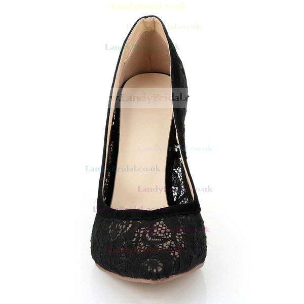 Women's Black Lace Pumps with Stitching Lace/Split Joint