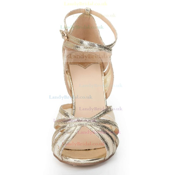 Women's Gold Sparkling Glitter Sandals with Buckle/Stitching Lace/Hollow-out