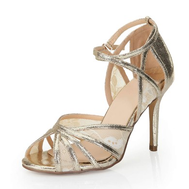 Women's Gold Sparkling Glitter Sandals with Buckle/Stitching Lace/Hollow-out #LDB03030551