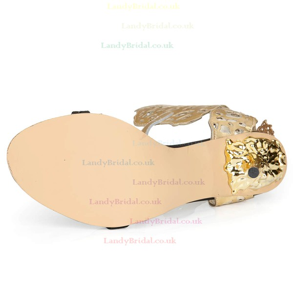 Women's Gold Real Leather Pumps with Buckle/Hollow-out