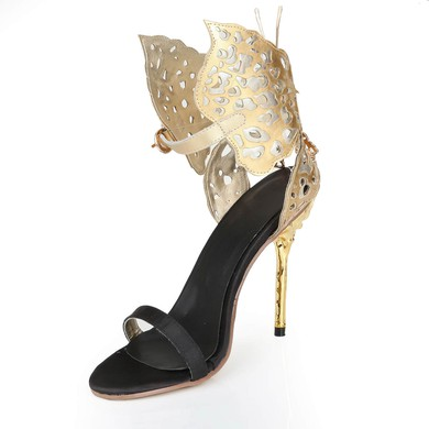 Women's Gold Real Leather Pumps with Buckle/Hollow-out #LDB03030553