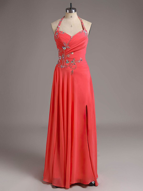 Halter Royal Blue Chiffon Crystal Detailing New Style Floor-length Prom Dresses #LDB02011729