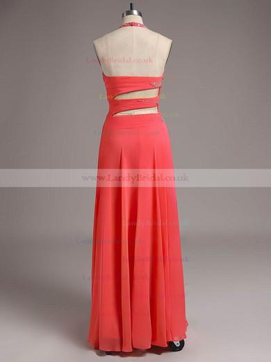 Halter Royal Blue Chiffon Crystal Detailing New Style Floor-length Prom Dresses #LDB02011729