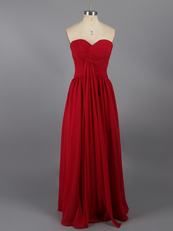Discount Ankle-length Chiffon Ruffles Sweetheart Red Prom Dresses #LDB02014763