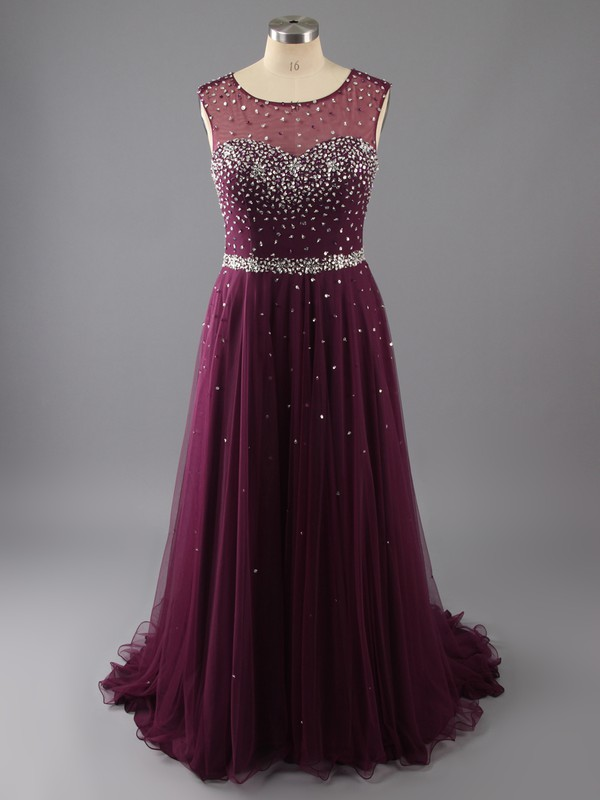 A-line Purple Chiffon Tulle Beading Scoop Neck Open Back Ladies Prom Dresses #LDB02014855