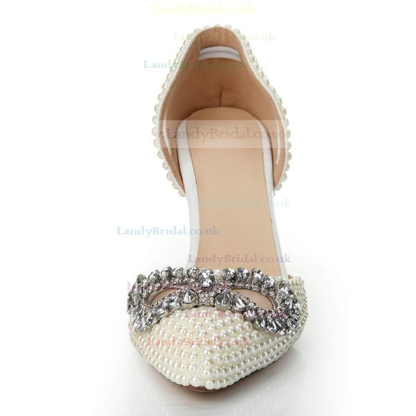 Women's White Patent Leather Pumps with Crystal/Hollow-out/Pearl