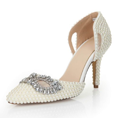 Women's White Patent Leather Pumps with Crystal/Hollow-out/Pearl #LDB03030554