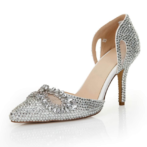 Women's Silver Satin Pumps with Crystal/Crystal Heel/Hollow-out