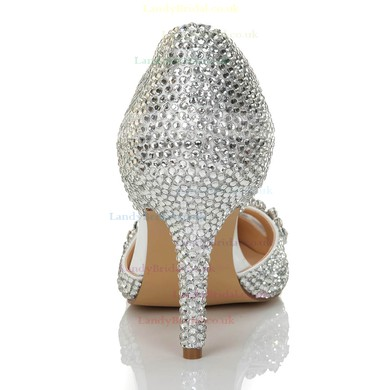 Women's Silver Satin Pumps with Crystal/Crystal Heel/Hollow-out #LDB03030555