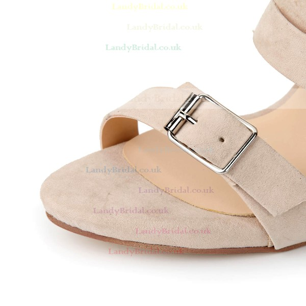 Women's Apricot Suede Pumps with Buckle/Zipper/Ankle Strap