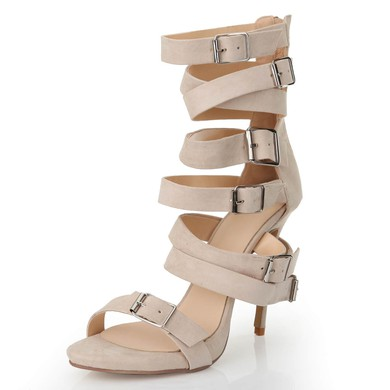 Women's Apricot Suede Pumps with Buckle/Zipper/Ankle Strap #LDB03030556
