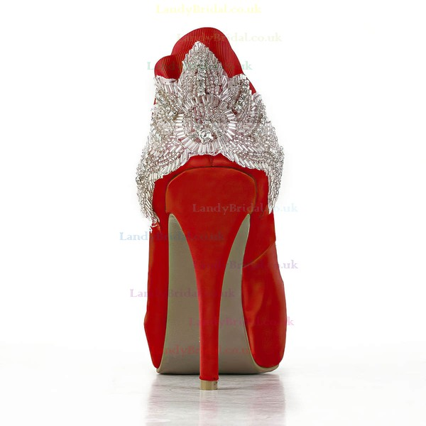 Women's Red Satin Pumps with Beading/Crystal