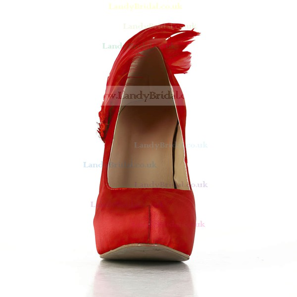 Women's Red Satin Pumps with Crystal/Applique/Feather/Pearl