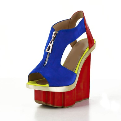 Women's Multi-color Patent Leather Sandals with Zipper/Split Joint #LDB03030559
