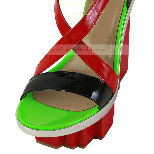 Women's Multi-color Patent Leather Sandals with Buckle