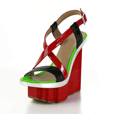 Women's Multi-color Patent Leather Sandals with Buckle #LDB03030560