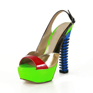 Women's Multi-color Patent Leather Pumps with Buckle/Split Joint #LDB03030564