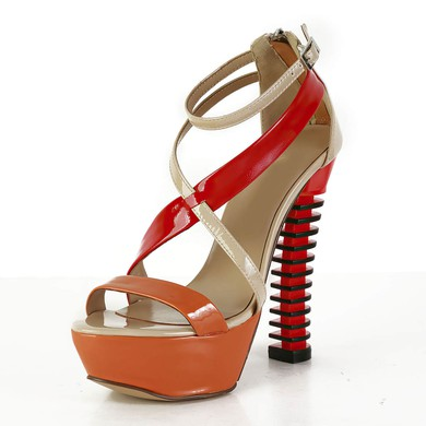 Women's Multi-color Patent Leather Pumps with Buckle/Zipper #LDB03030565