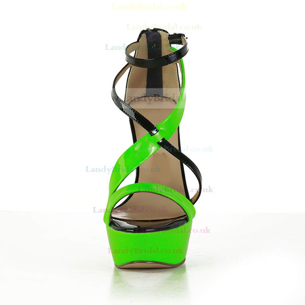 Women's Multi-color Patent Leather Pumps with Buckle/Zipper