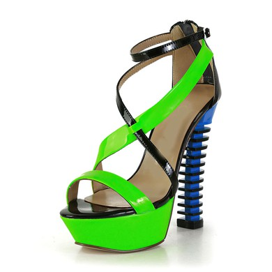 Women's Multi-color Patent Leather Pumps with Buckle/Zipper #LDB03030566