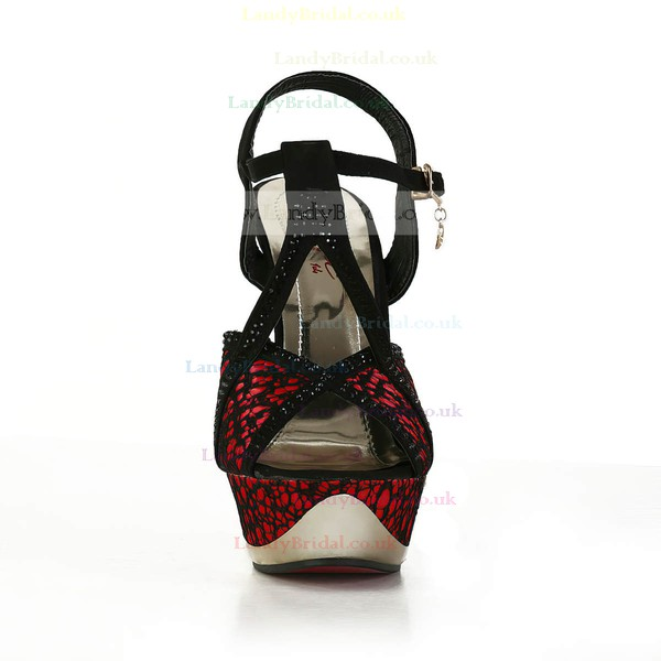 Women's Red Satin Pumps with Rivet/Stitching Lace/Buckle