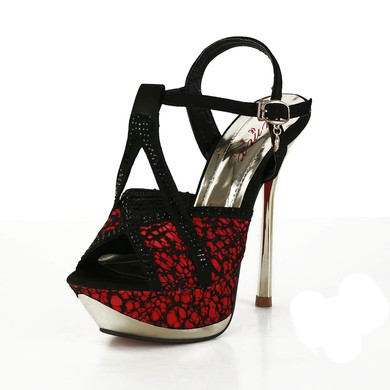 Women's Red Satin Pumps with Rivet/Stitching Lace/Buckle #LDB03030568