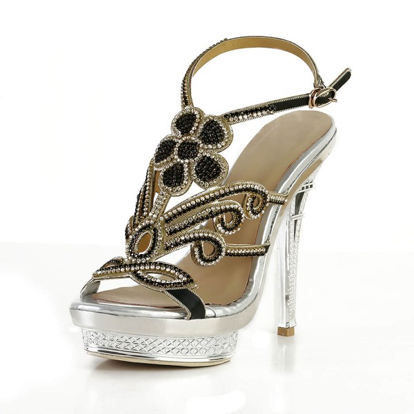 Women's Silver Satin Pumps with Buckle/Crystal/Crystal Heel #LDB03030569