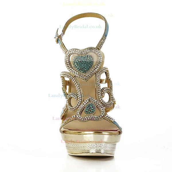 Women's Gold Sparkling Glitter Pumps with Buckle/Crystal/Crystal Heel