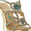 Women's Gold Sparkling Glitter Pumps with Buckle/Crystal/Crystal Heel #LDB03030570
