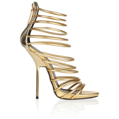 Women's Gold Real Leather Pumps with Zipper/Hollow-out #LDB03030572