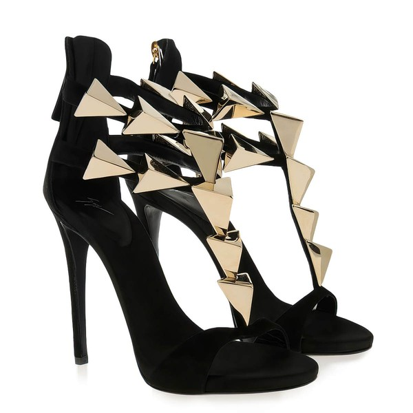 Women's Black Suede Pumps with Zipper/Rivet #LDB03030573