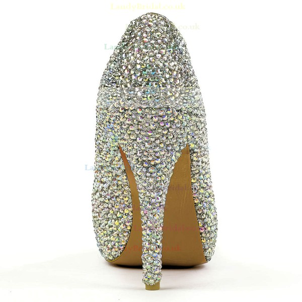Women's Multi-color Real Leather Pumps with Crystal/Crystal Heel