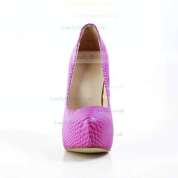Women's Fuchsia Real Leather Pumps with Animal Print
