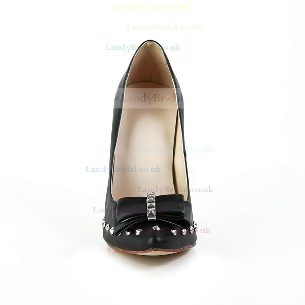 Women's Black Real Leather Pumps with Bowknot/Rivet