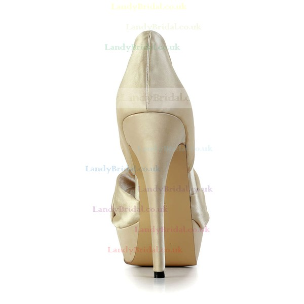 Women's Champagne Satin Pumps #LDB03030580