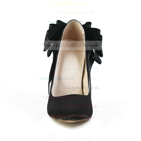 Women's Black Satin Pumps with Bowknot