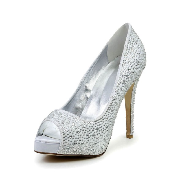 Women's Silver Satin Pumps with Crystal/Crystal Heel #LDB03030585