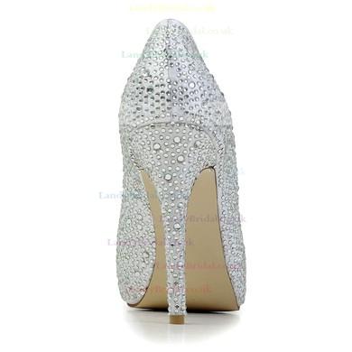 Women's Silver Satin Pumps with Crystal/Crystal Heel #LDB03030585