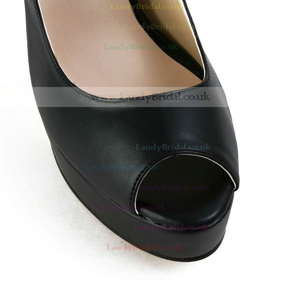 Women's Black Real Leather Pumps